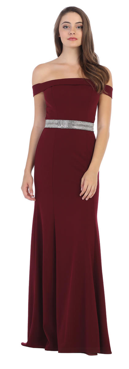 CINDY COLLECTION USA - Solid Jersey Cold Shoulder Beaded Waist Gown