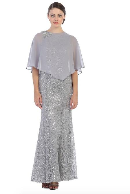 CINDY COLLECTION USA - Metallic Lace & Chiffon Popover Gown