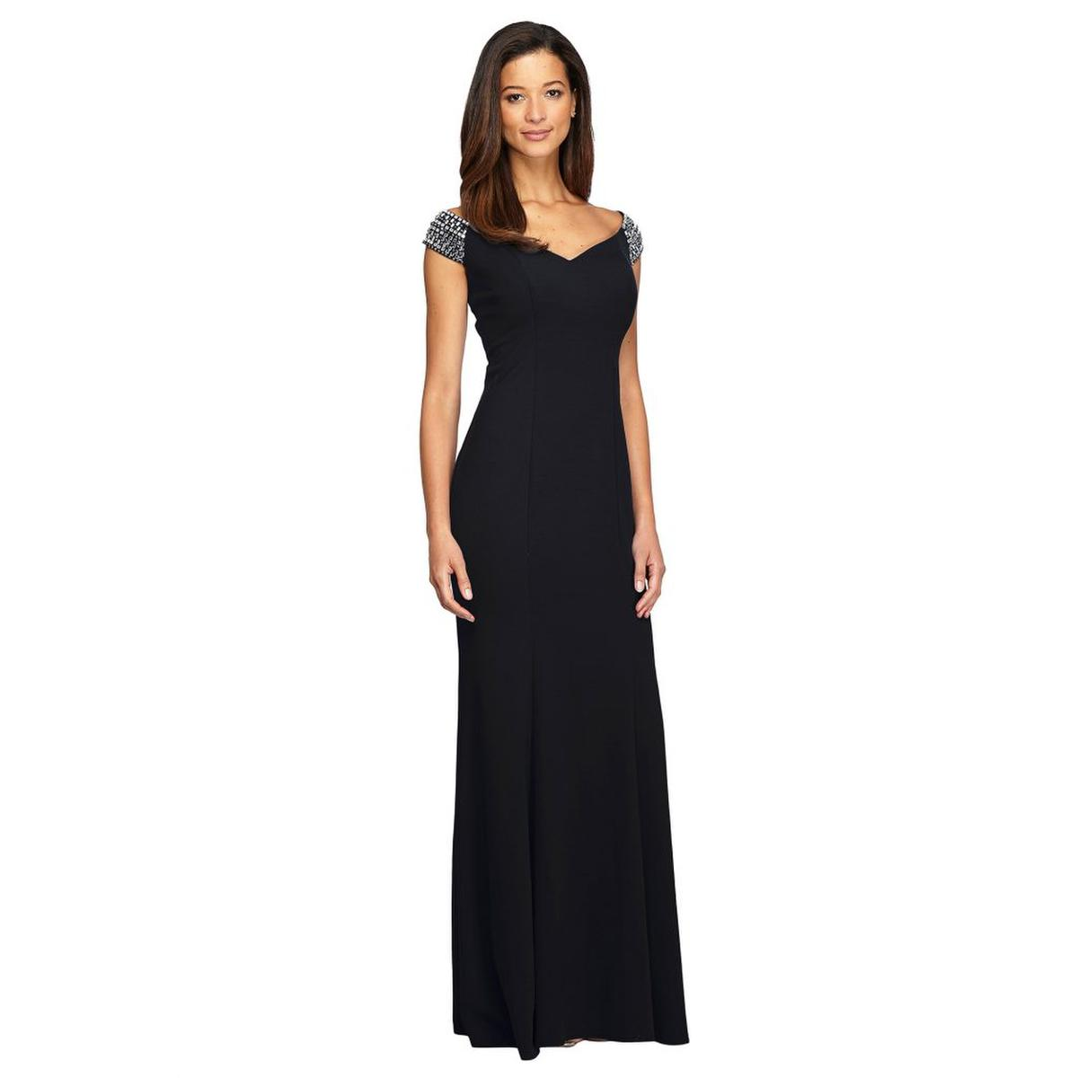 ALEX APPAREL GROUP INC - Beaded Off-the-Shoulder Jersey Gown