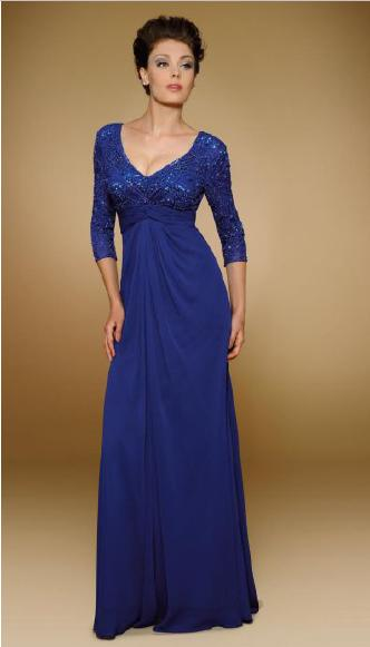 RINA DIMONTELLA - Chiffon Gown Beaded Bodice Long Sleeve