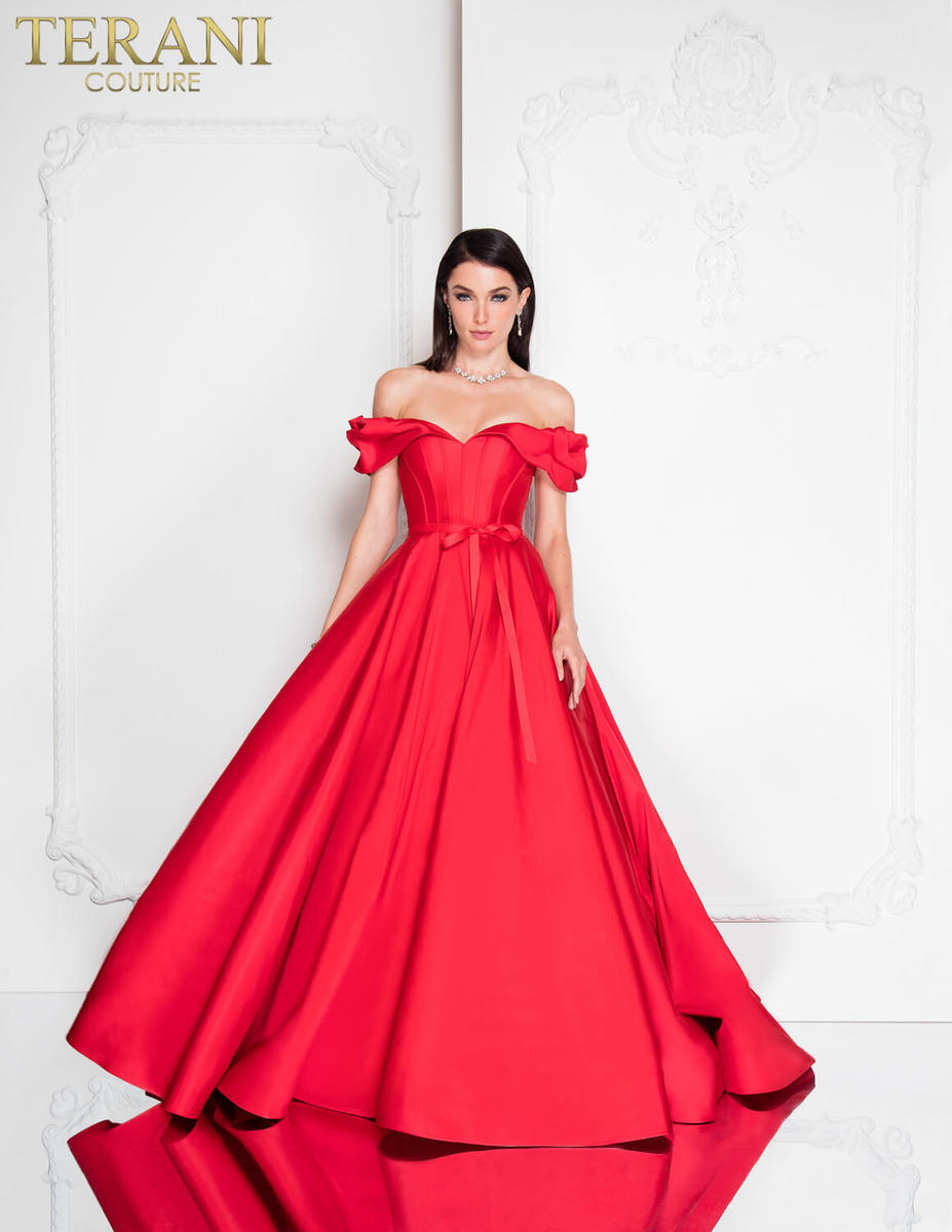 Satin Gown Ruffle Trim