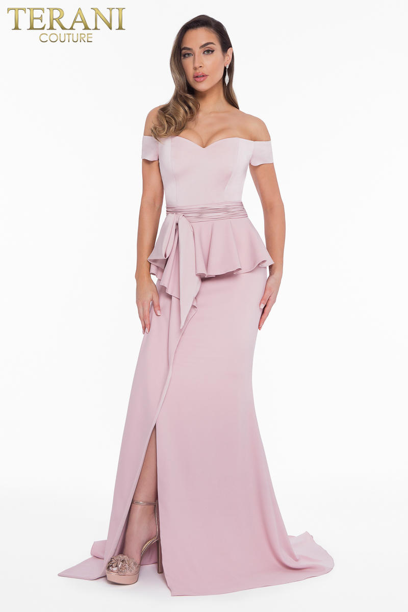 Off Shoulder Gown With Peplum