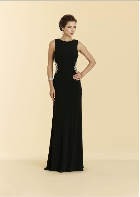 RINA DIMONTELLA - Jersey Gown Beaded Draped Back