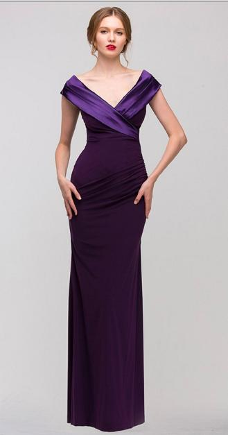 Fashion Eureka - Satin Portrait Neckline Jersey Gown