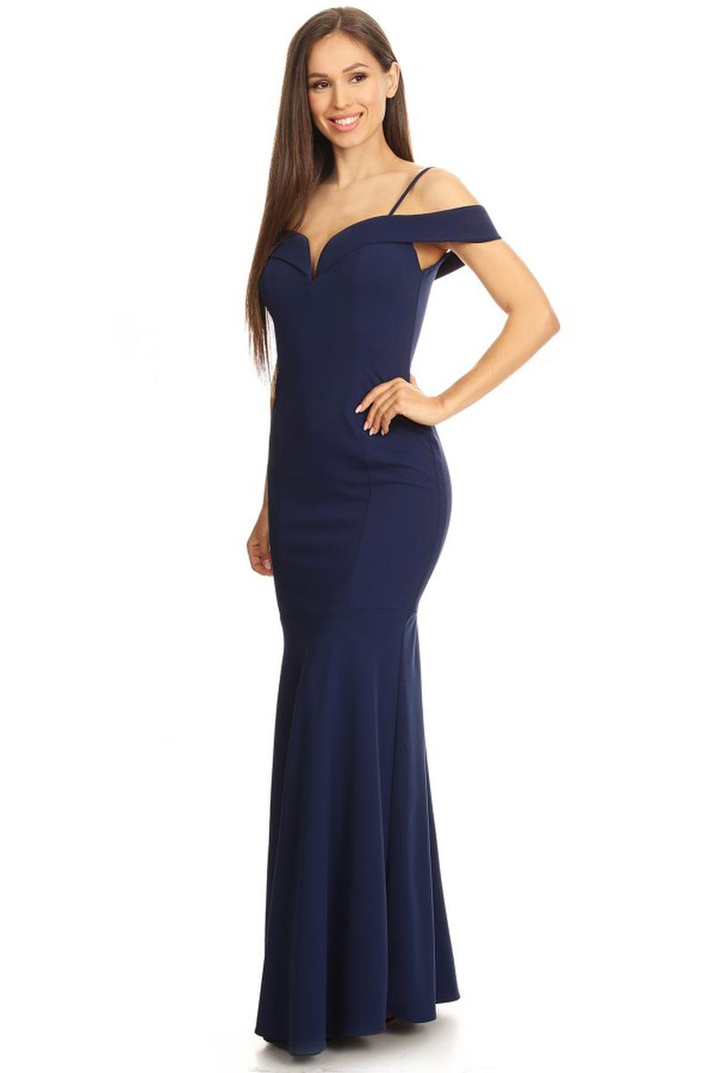 Fashion Eureka - Solid Cold Shoulder Jersey Sheath Gown