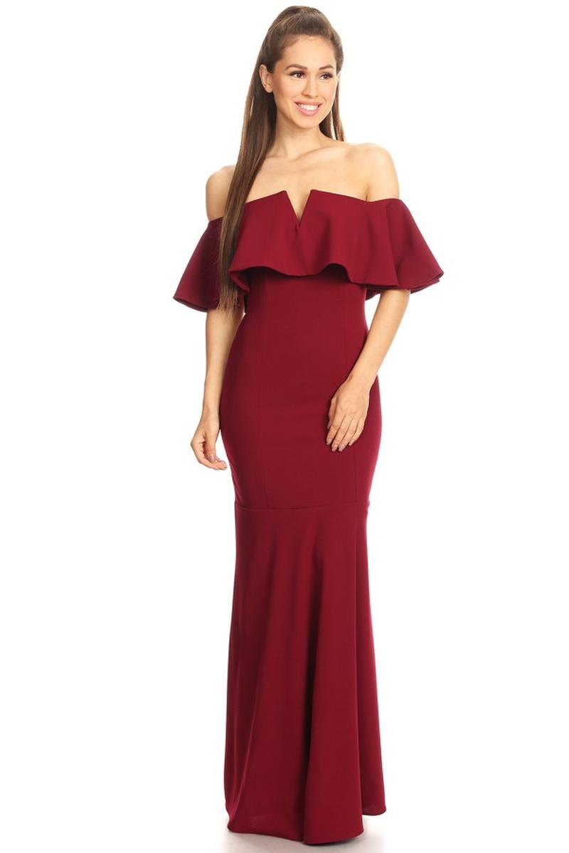 Fashion Eureka - Off-the-Shoulder Ruffle Jersey Sheath gown