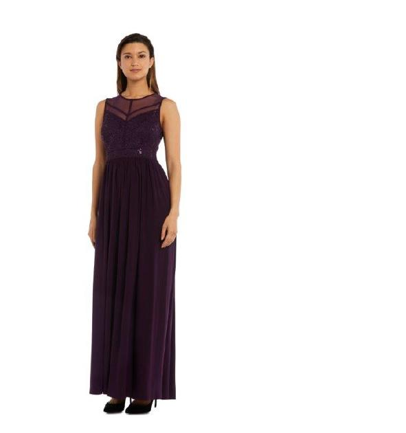 NIGHTWAY - Jersey Gown Sheer Lace Bodice