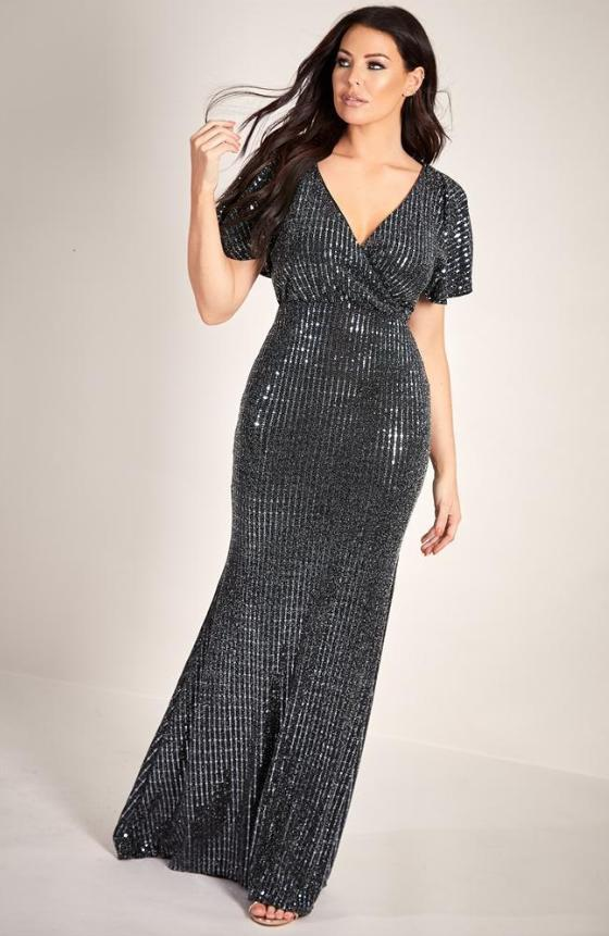 LIPSTICK  LONDON - Jersey Metallic Short Sleeve Wrap Waist Gown