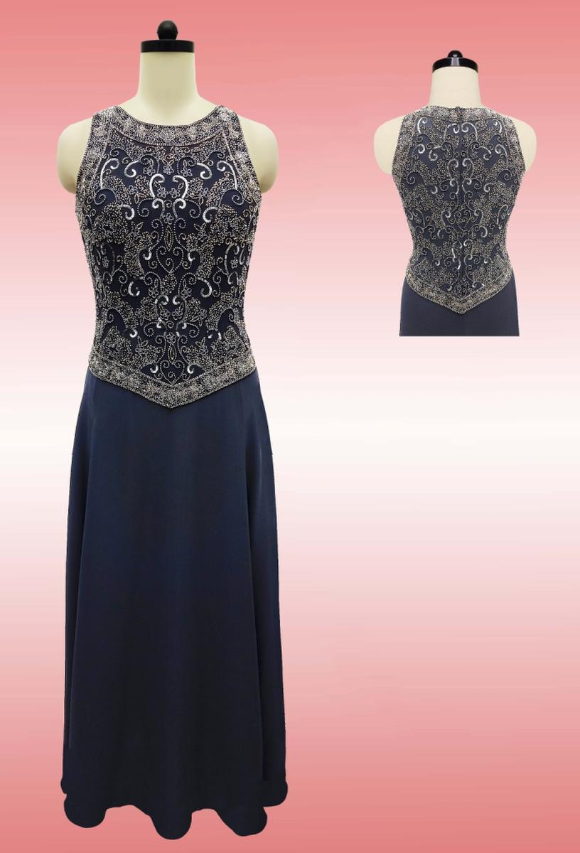 JKARA - Chiffon Gown Beaded Mock Top