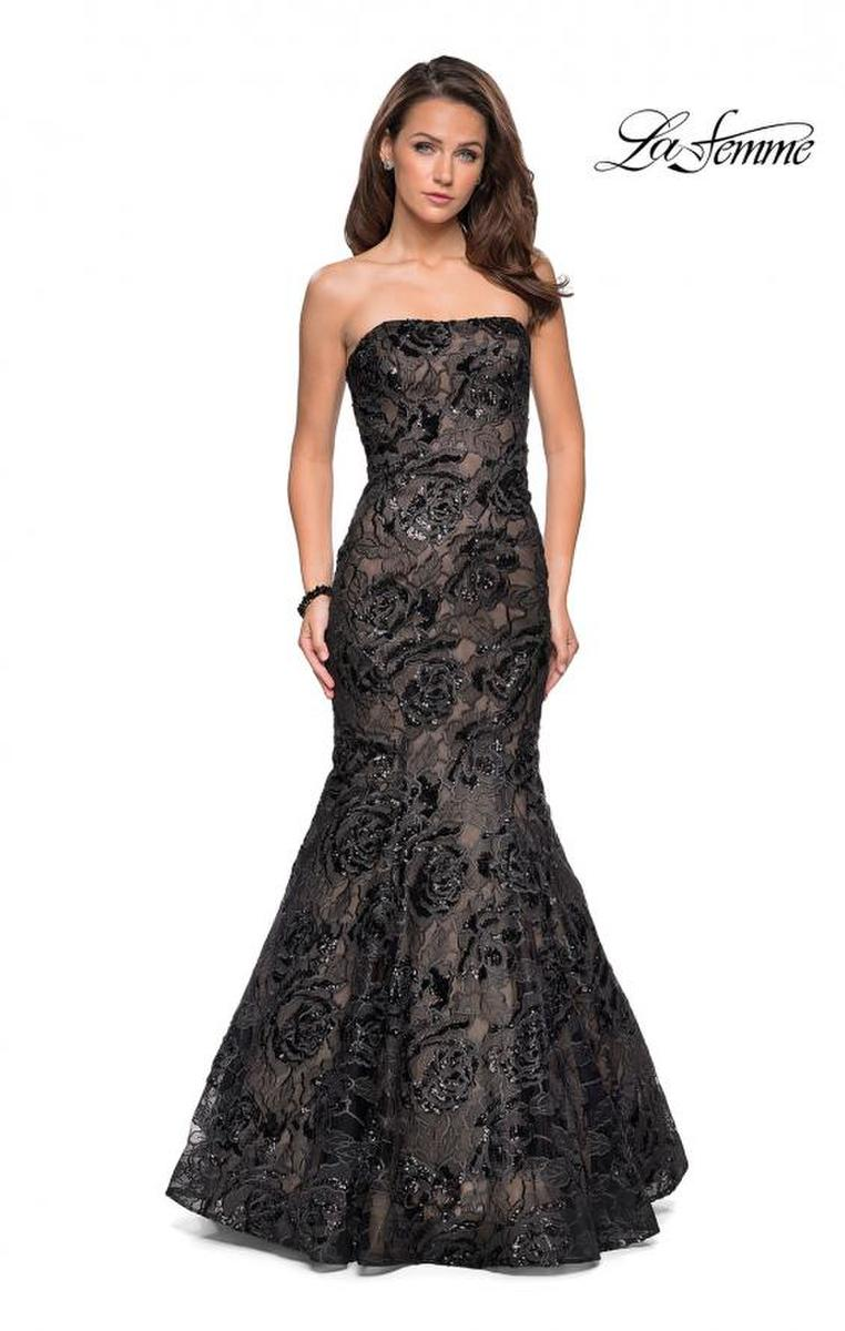 La Femme - Lace Beaded Mermaid Gown