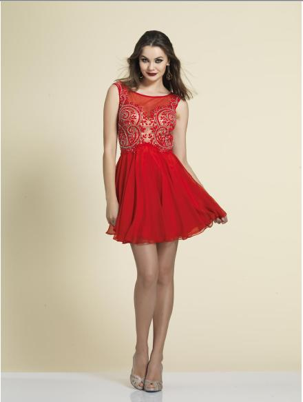 Dave and Johnny - Beaded Fit & Flare Illusion Dress