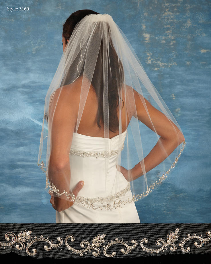 THE BRIDAL VEIL CO - 2 X 32 BEADED EDGE-FINALSALE