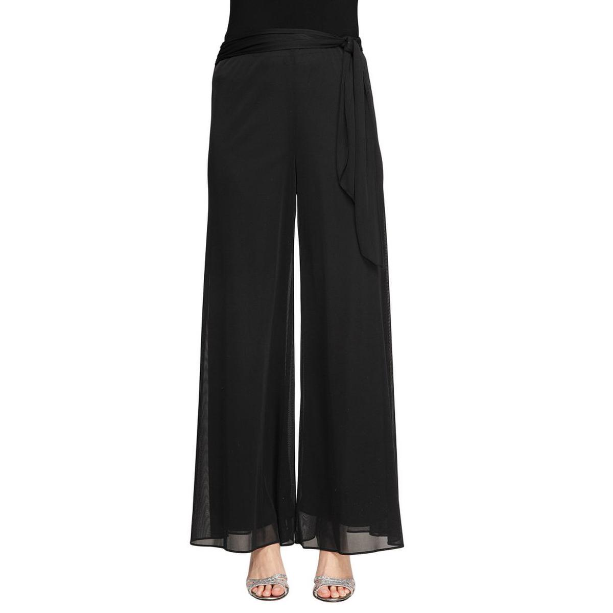 Wide Leg Mesh Pant With Tie Belt