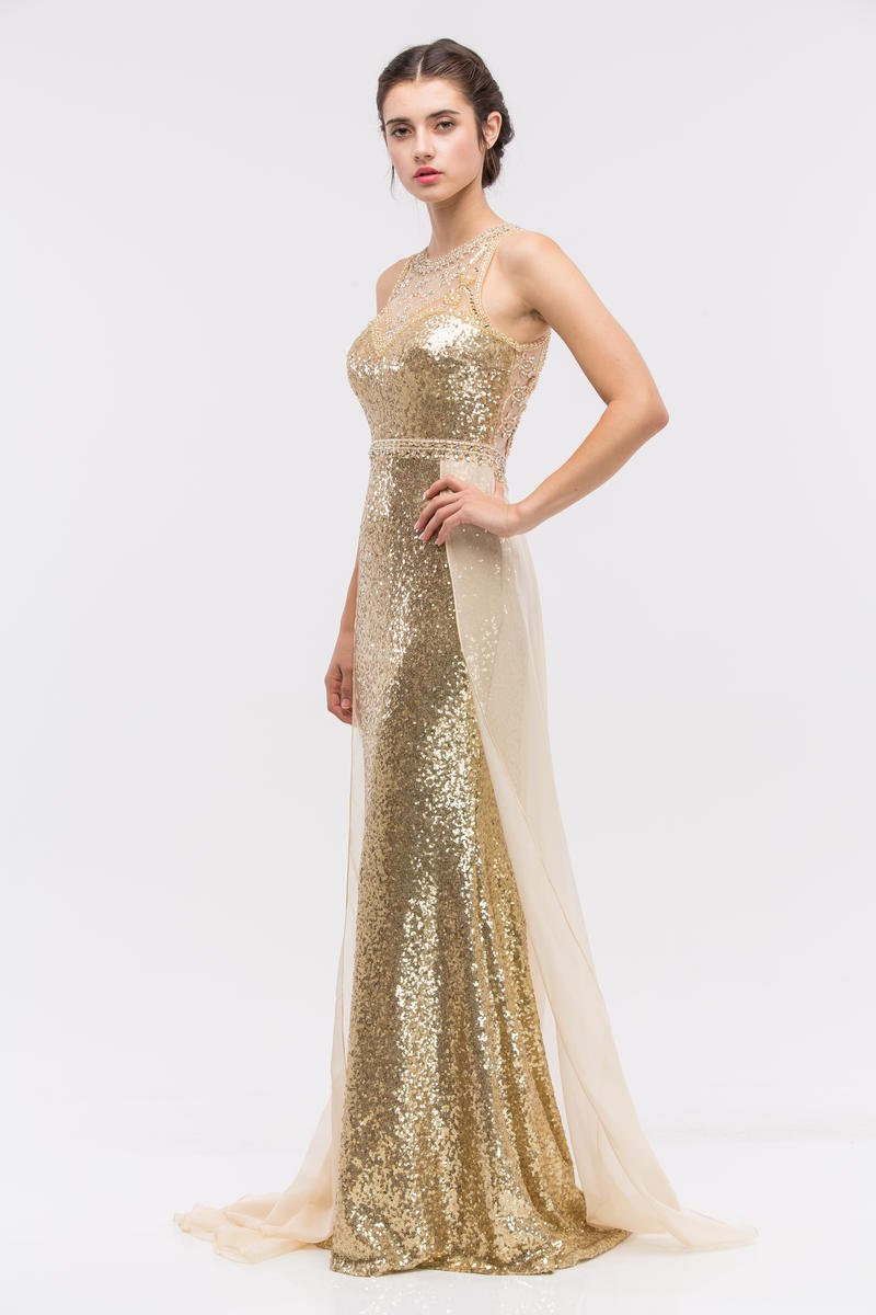 Fashion Eureka - Sleeveless Sequin Sheath with Chiffon Overlay