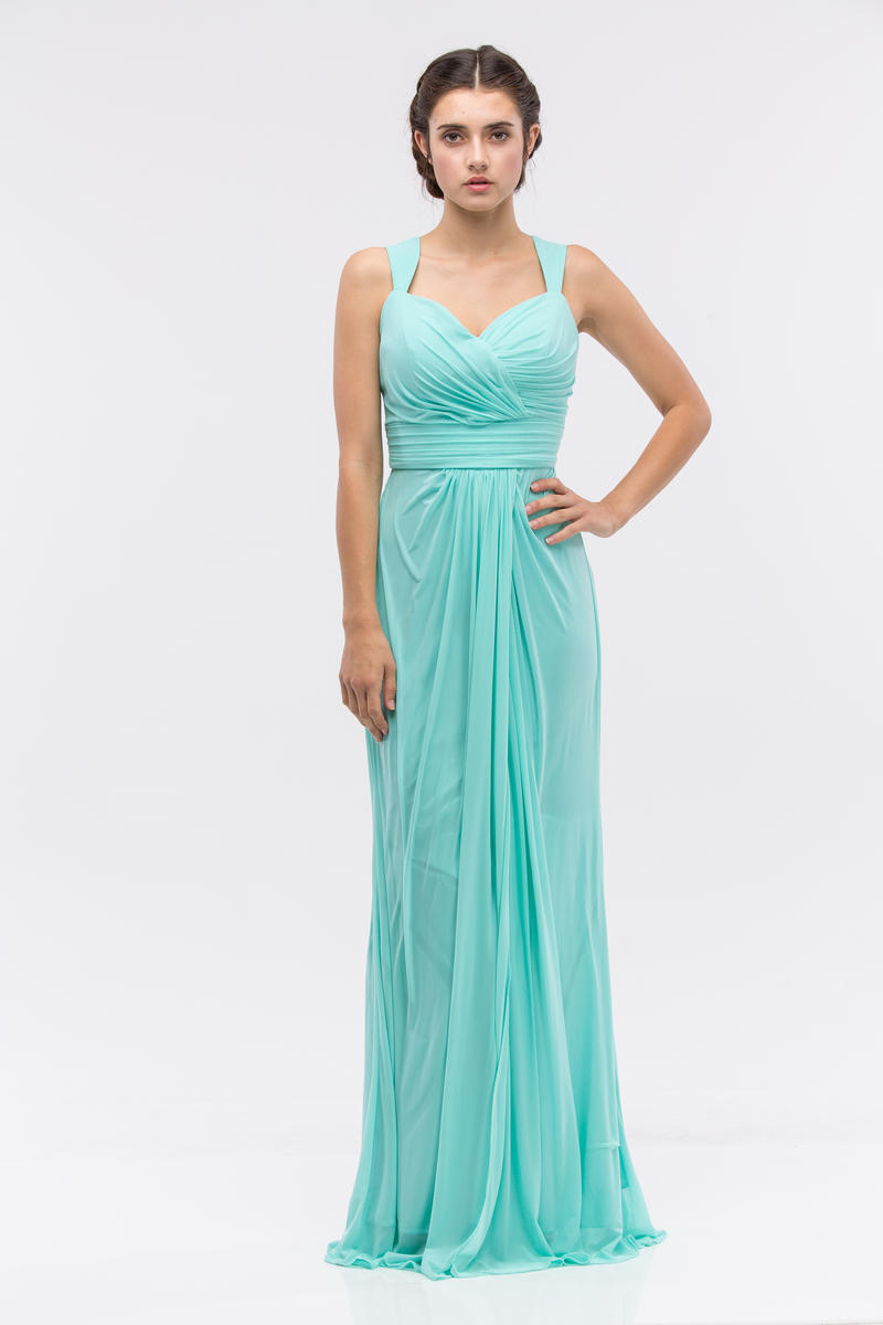 Fashion Eureka - Long Pleated Jersey Net Gown