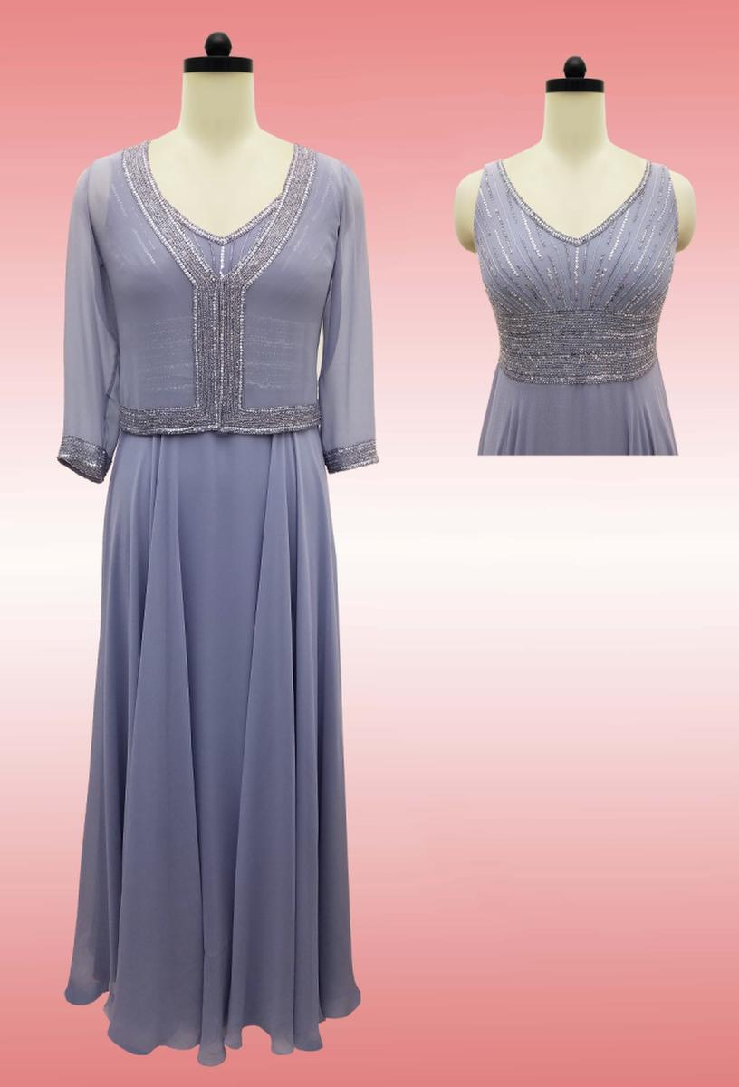 JKARA - Sleeveless Beaded V-Neck Chiffon Gown w. Jacket