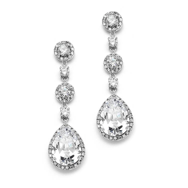 Cubic Zirconia Pear-Shaped Drop Earrings