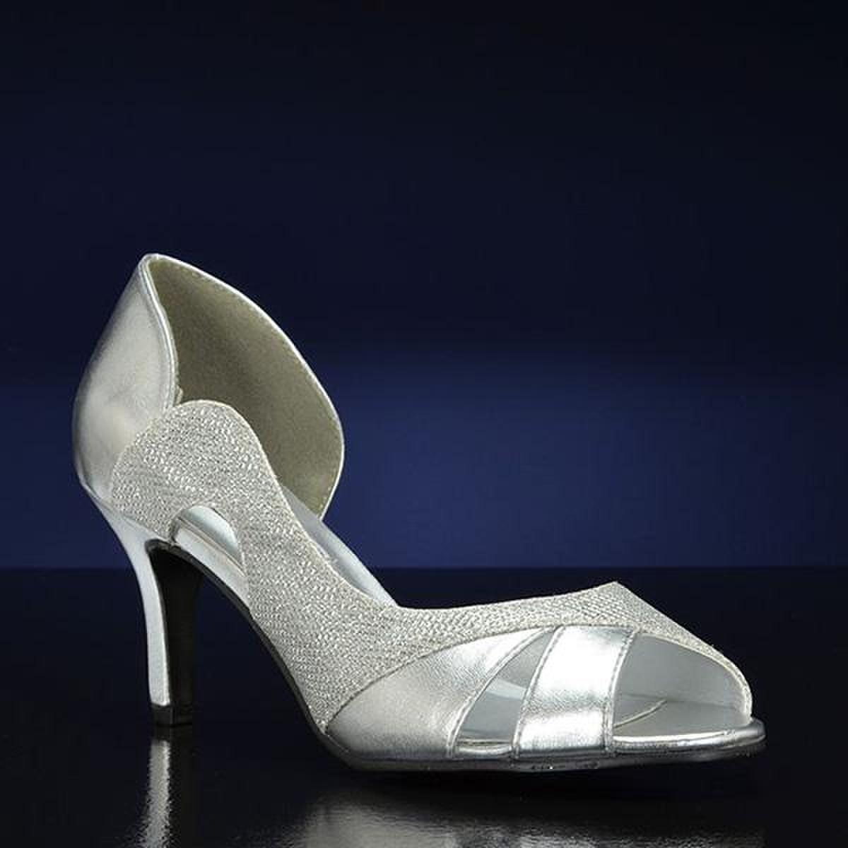 Metallic Low Heel Peep Toe Pump