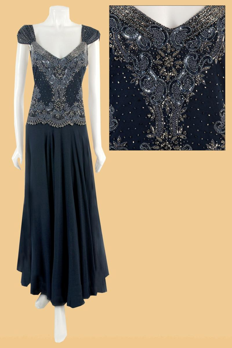 JKARA - Beaded Chiffon Cap Sleeve Gown