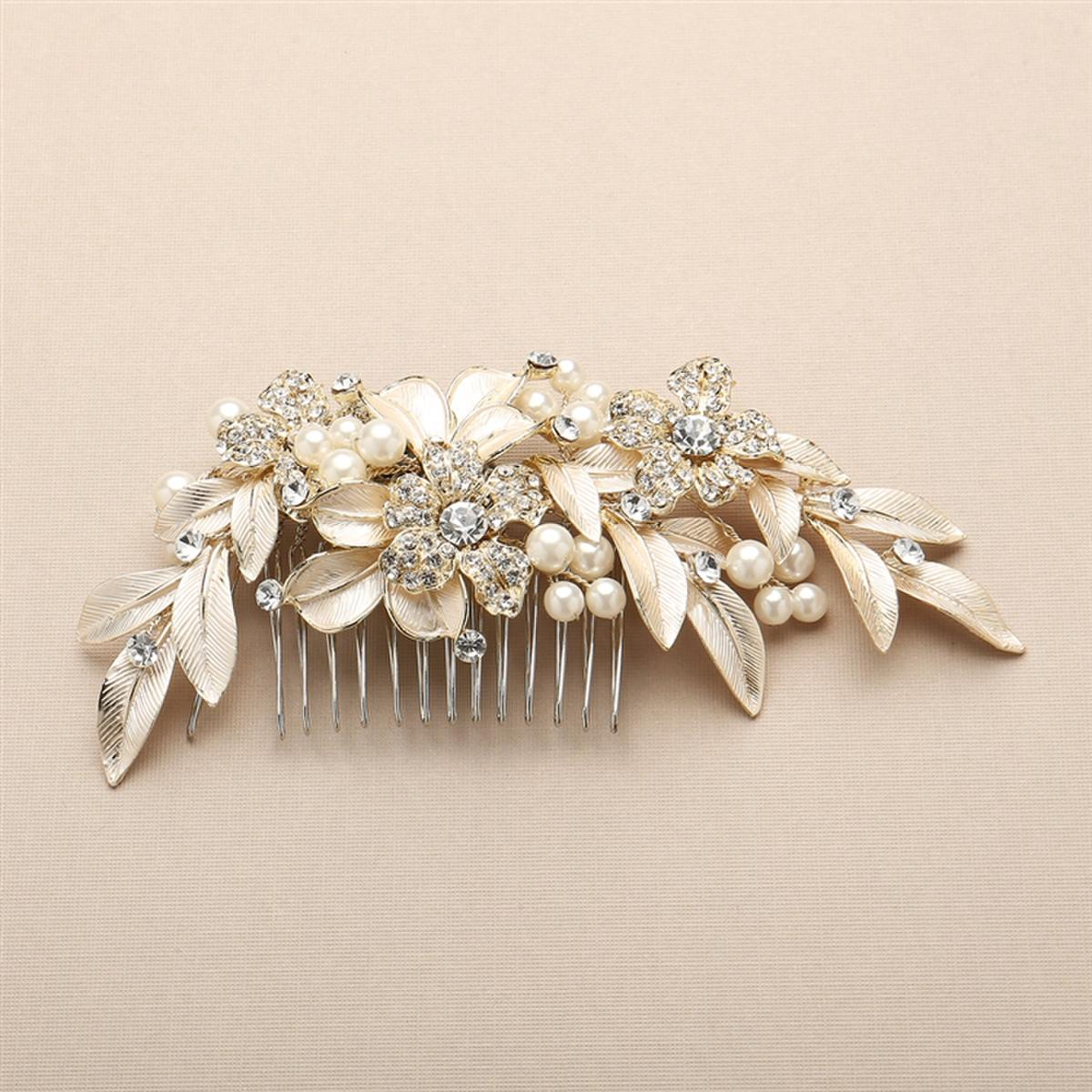 Pearl and Crystal Flowers Hair Comb