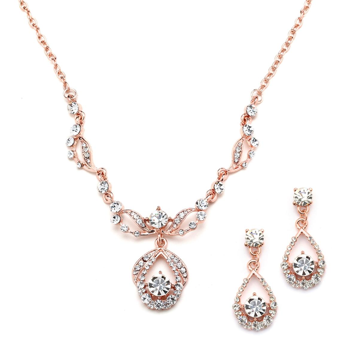 MARIELL - Vintage Crystal Necklace and Earrings Set