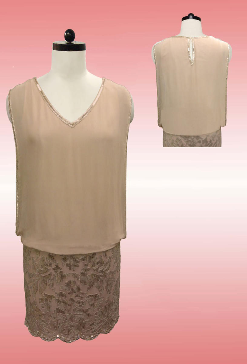 JKARA - Short Sequin Lace & Chiffon