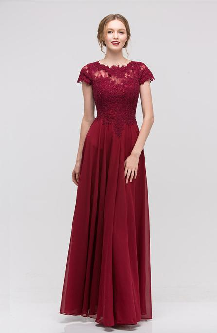 Fashion Eureka - Chiffon Gown Bead Lace Bodice