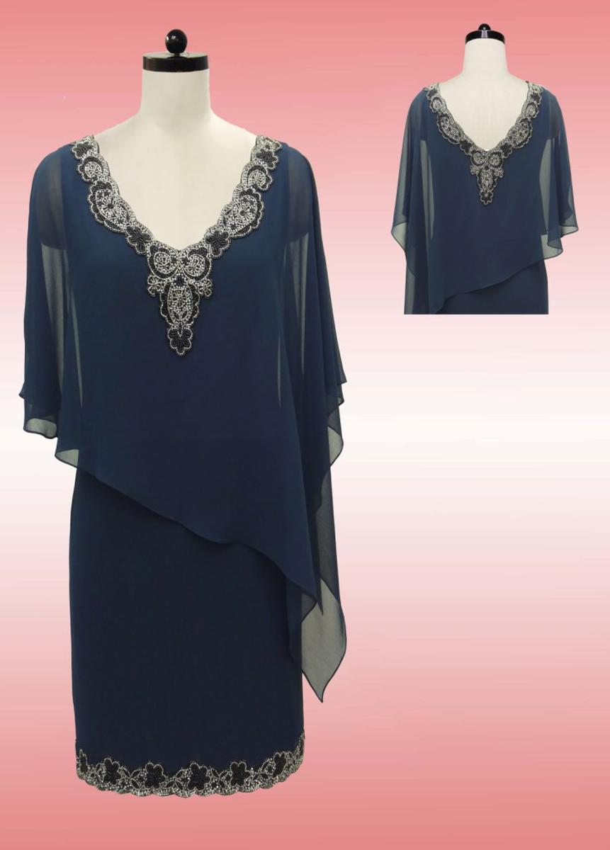 JKARA - Chiffon Capelet Beaded Dress