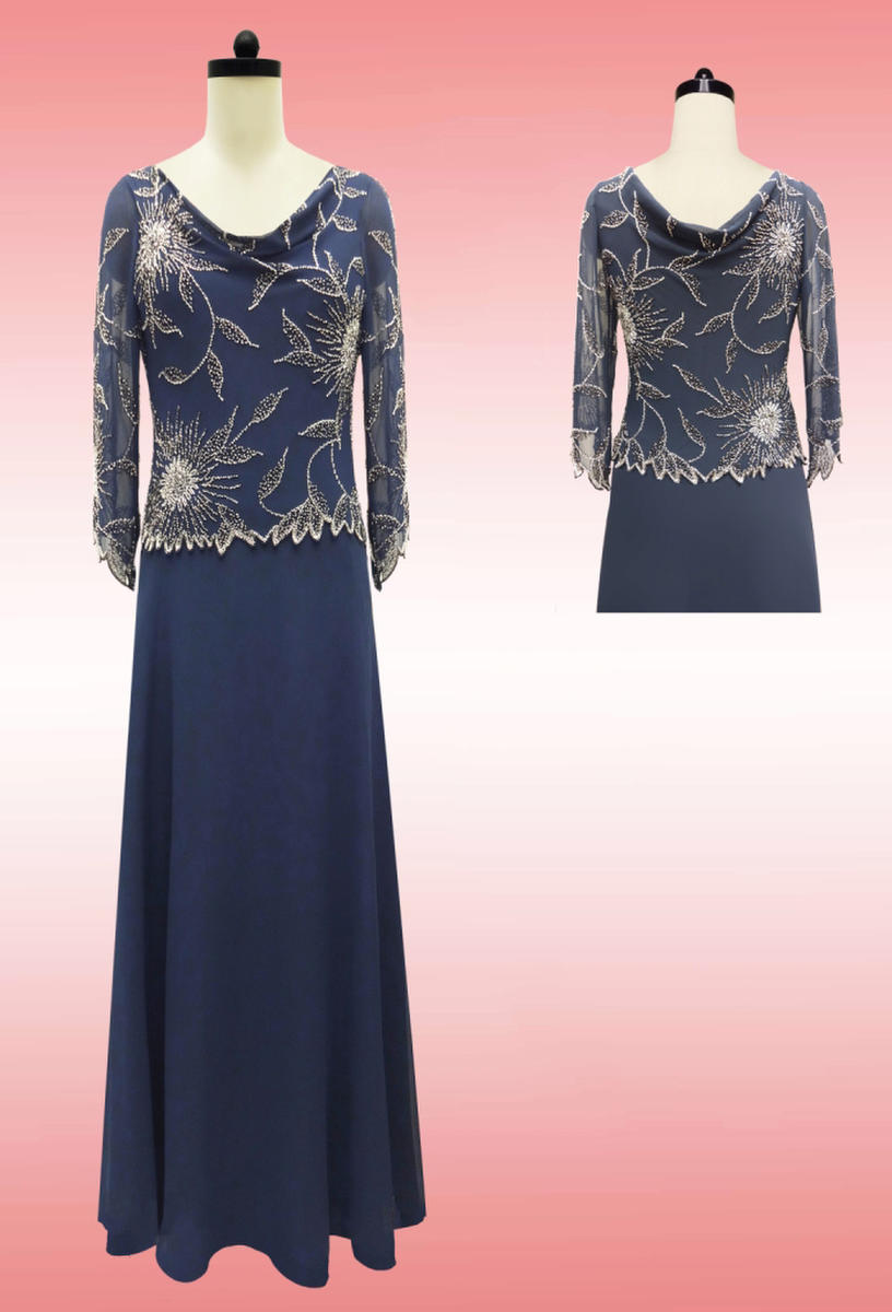 JKARA - Long-Sleeved Beaded Chiffon