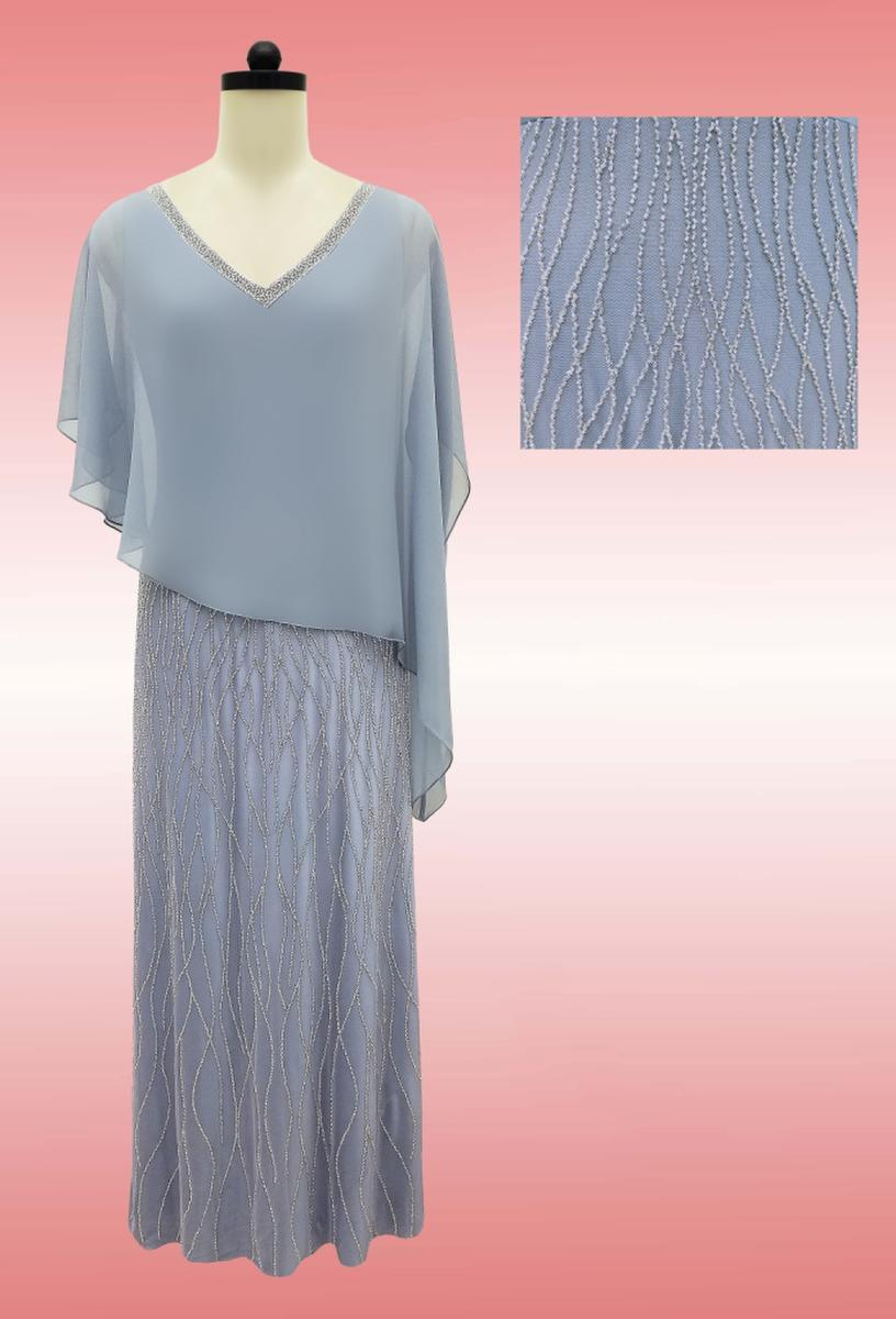JKARA - Beaded V-Neck Chiffon Popover Gown 5029DB