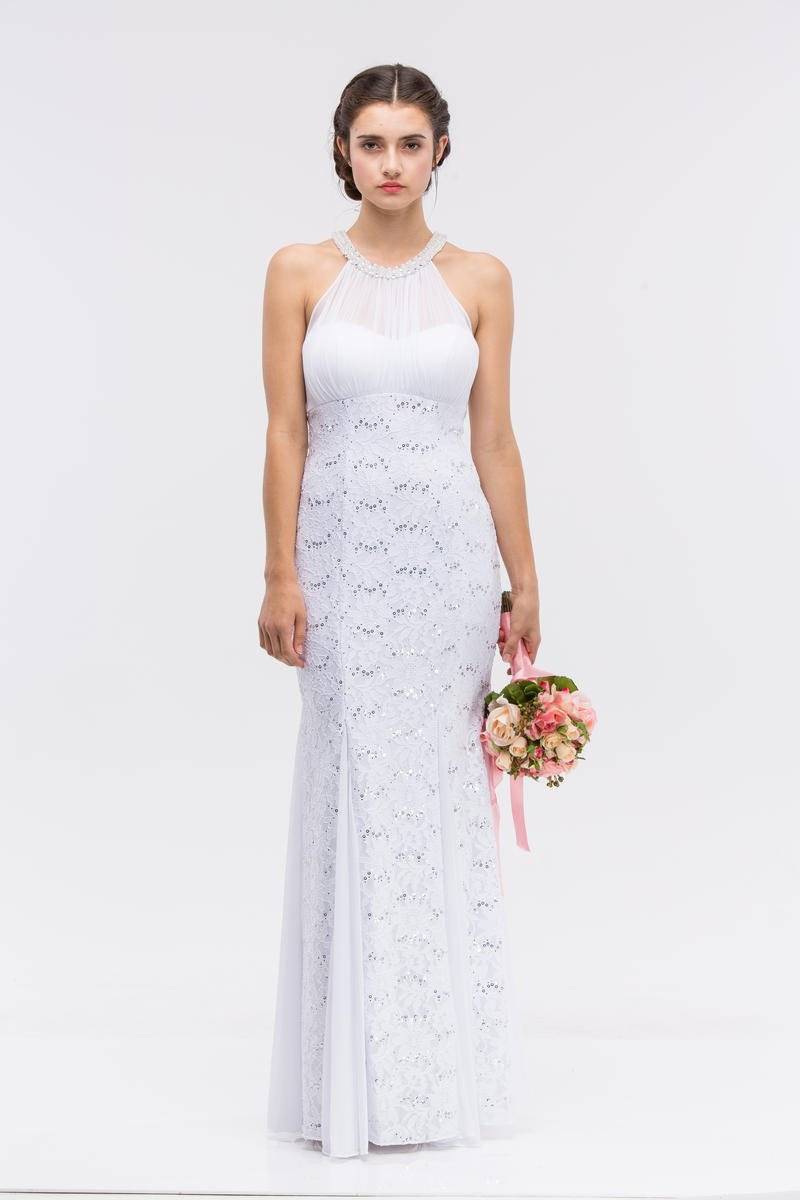 Fashion Eureka - Sequin & Lace Pearl Neckline Illusion Gown