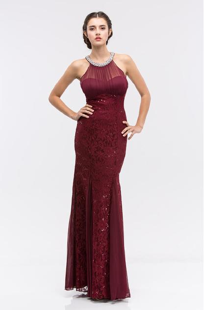 Fashion Eureka - Sequin Lace Pearl Neckline Illusion Gown