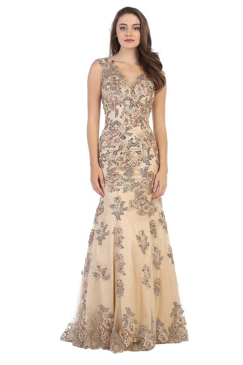 CINDY COLLECTION USA - Floral Embroidered Fit & Flare Gown