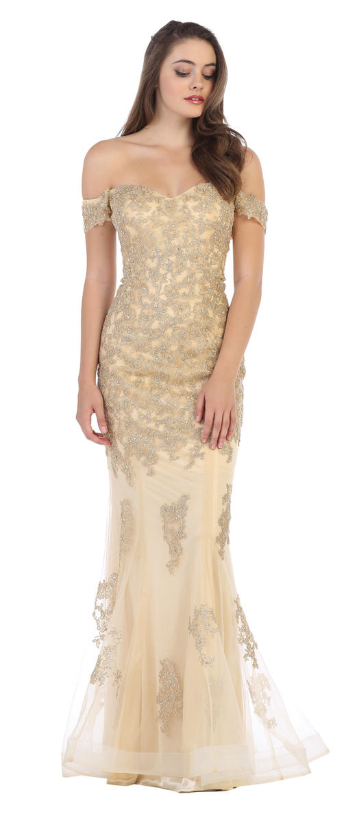 CINDY COLLECTION USA - Beaded Floral Applique Tulle Gown