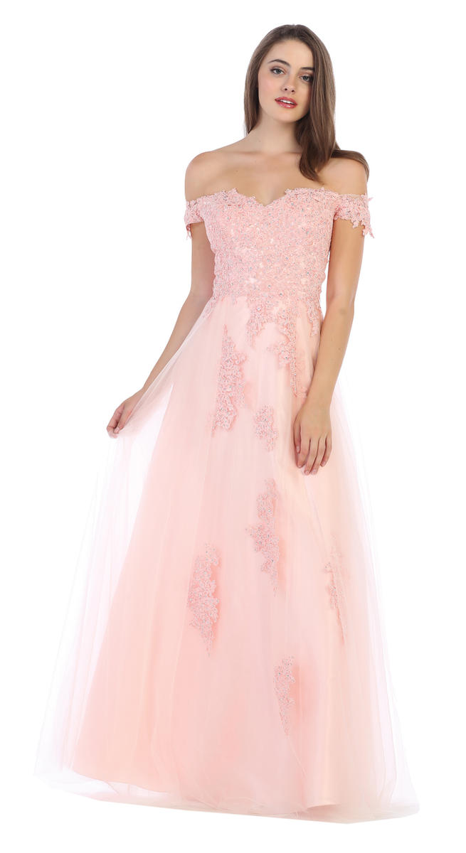 CINDY COLLECTION USA - Beaded Floral Applique Tulle A-Line Gown