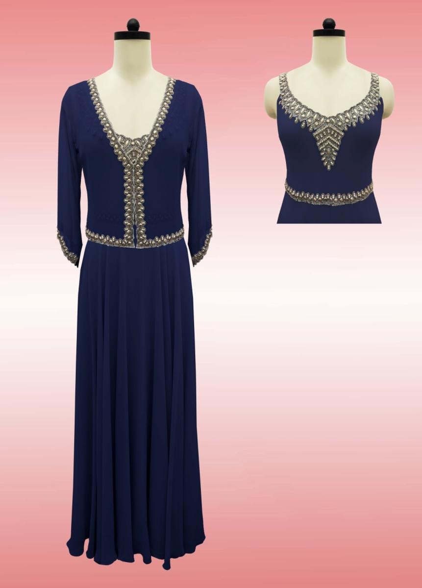 JKARA - Sleeveless Beaded Chiffon Gown w/ Jacket