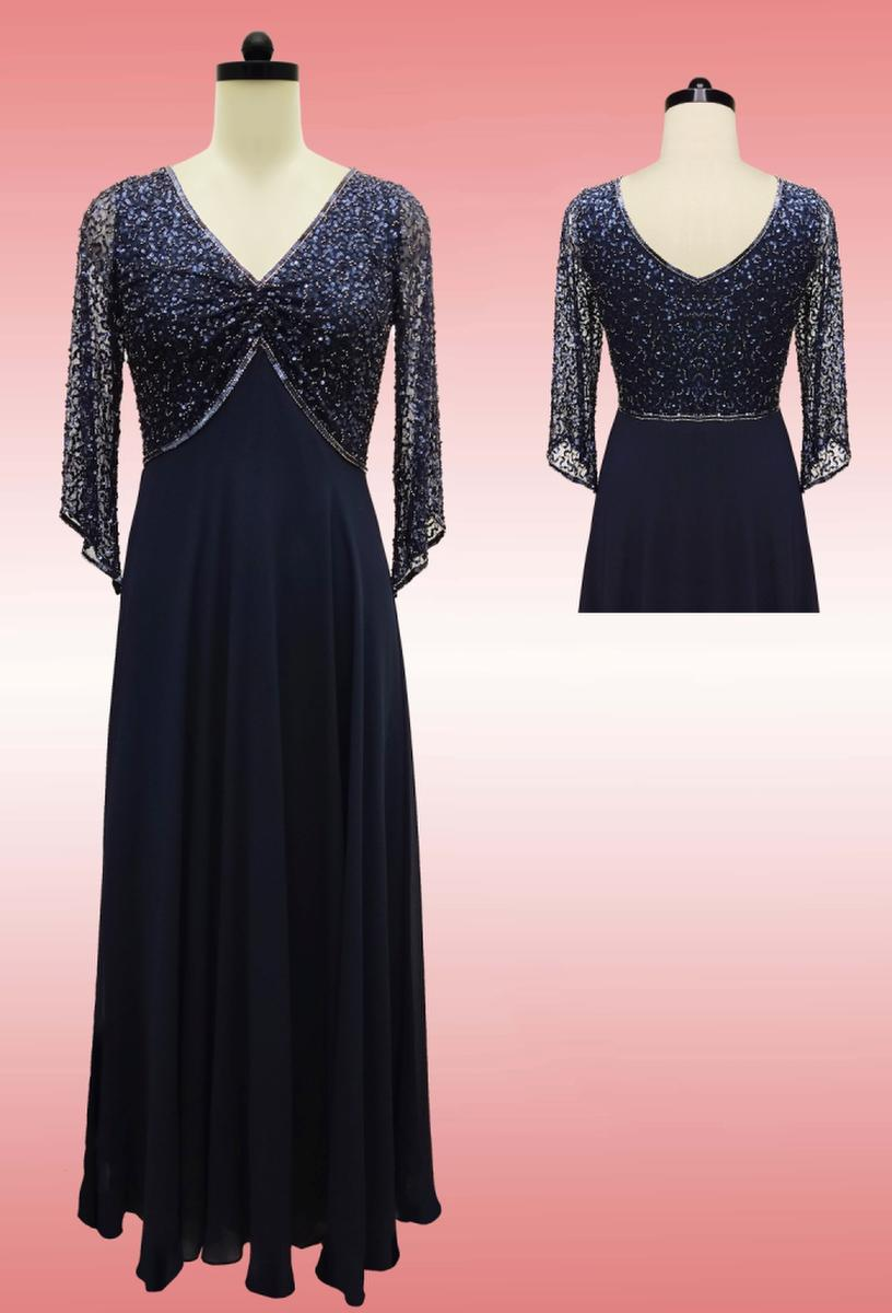 JKARA - Chiffon Gown Beaded Bodice Long Sleeve