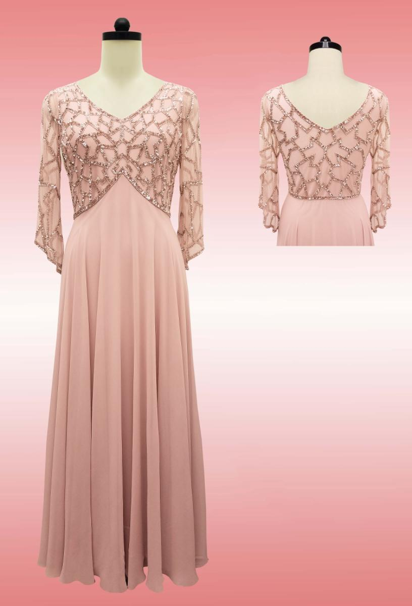 JKARA - Sequin 3/4 Sleeve Chiffon Gown