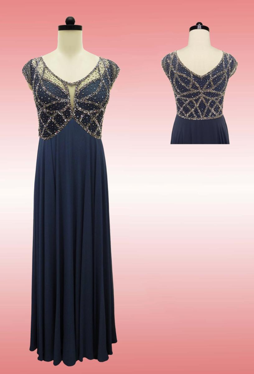 JKARA - Sleeveless Beaded V-Neck Chiffon Gown