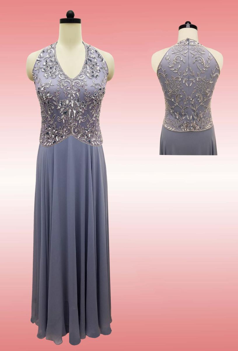 JKARA - Sleeveless Sequin Scalloped Chiffon Gown 5219DBP