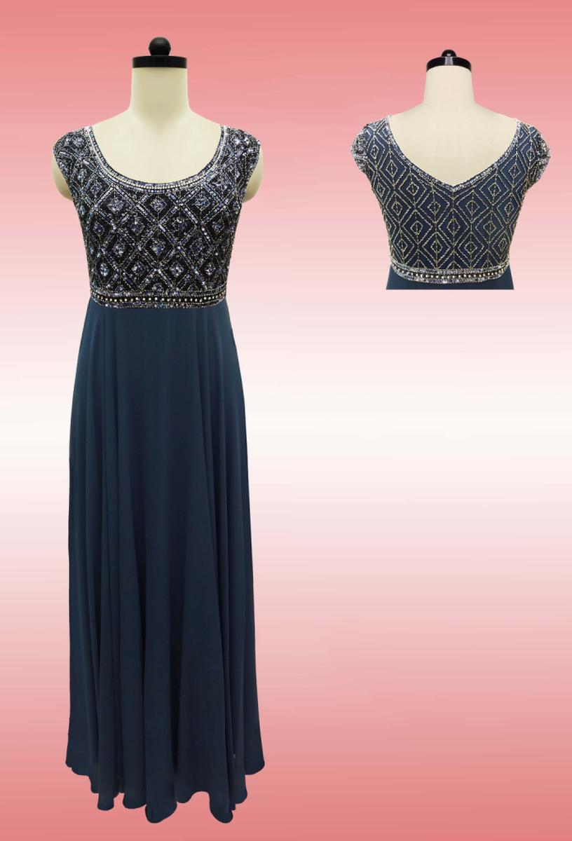 JKARA - Sequin Cap Sleeve Chiffon Scoop Neck Gown