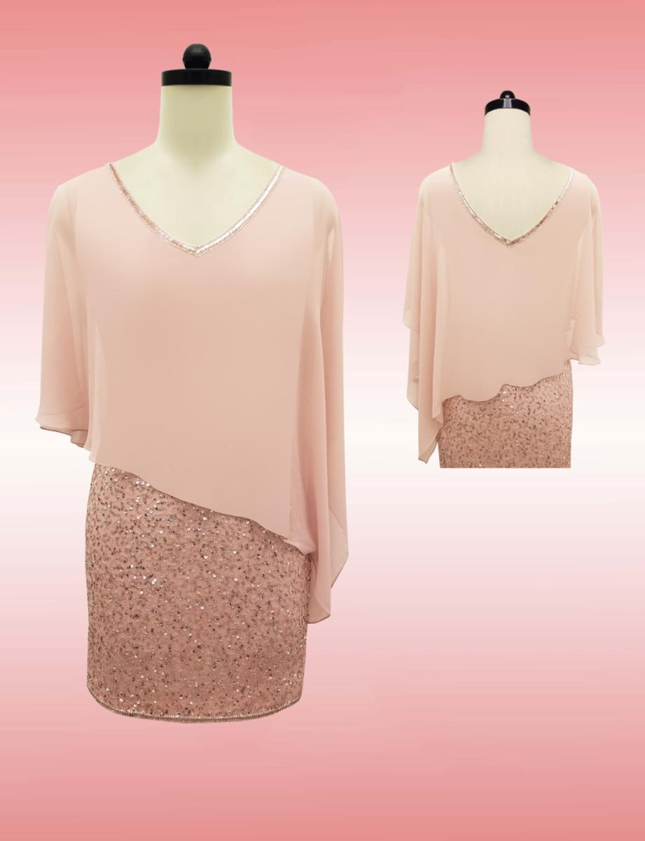 JKARA - Sequin V-Neck Popover Dress