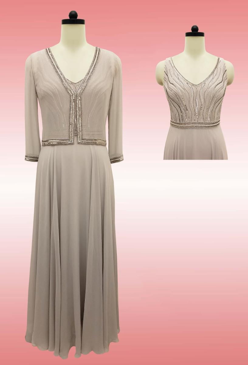 JKARA - Sleeveless Beaded V-Neck Gown w/ Jacket
