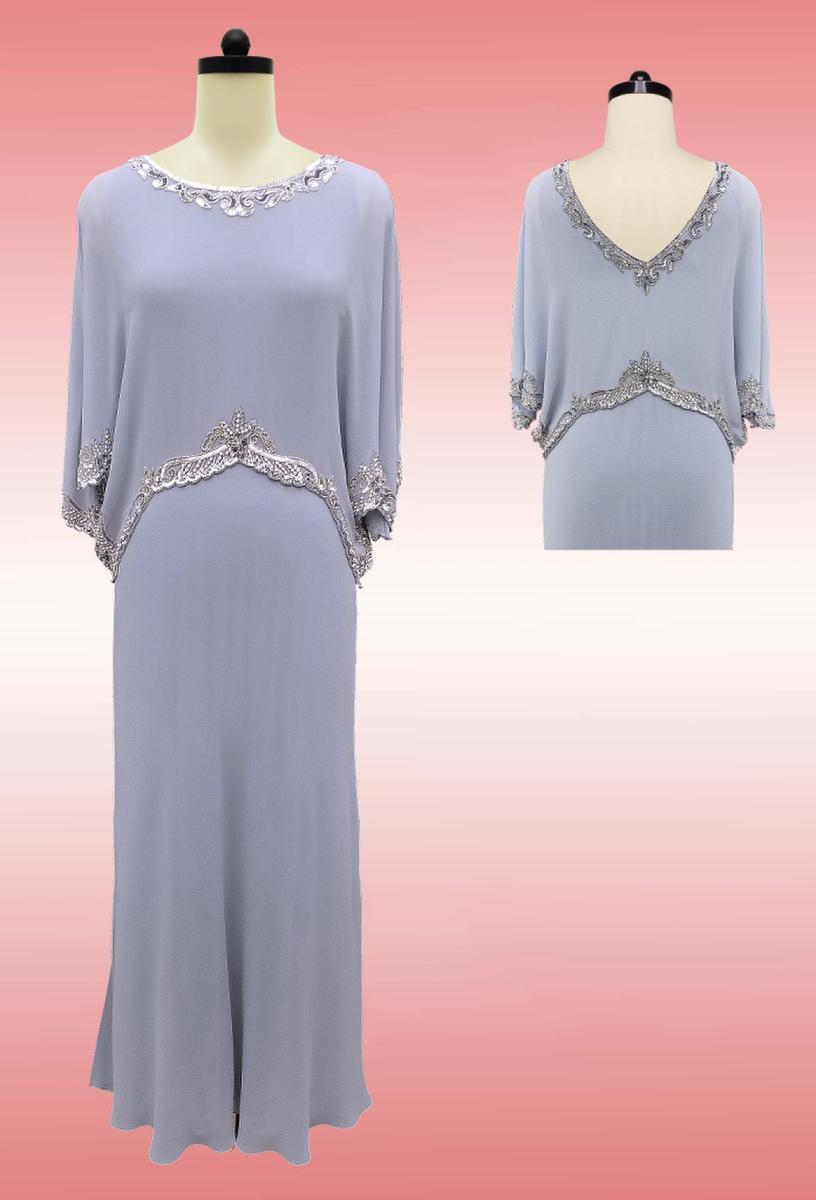 JKARA - Long Sleeve Chiffon Gown-Bead Trim