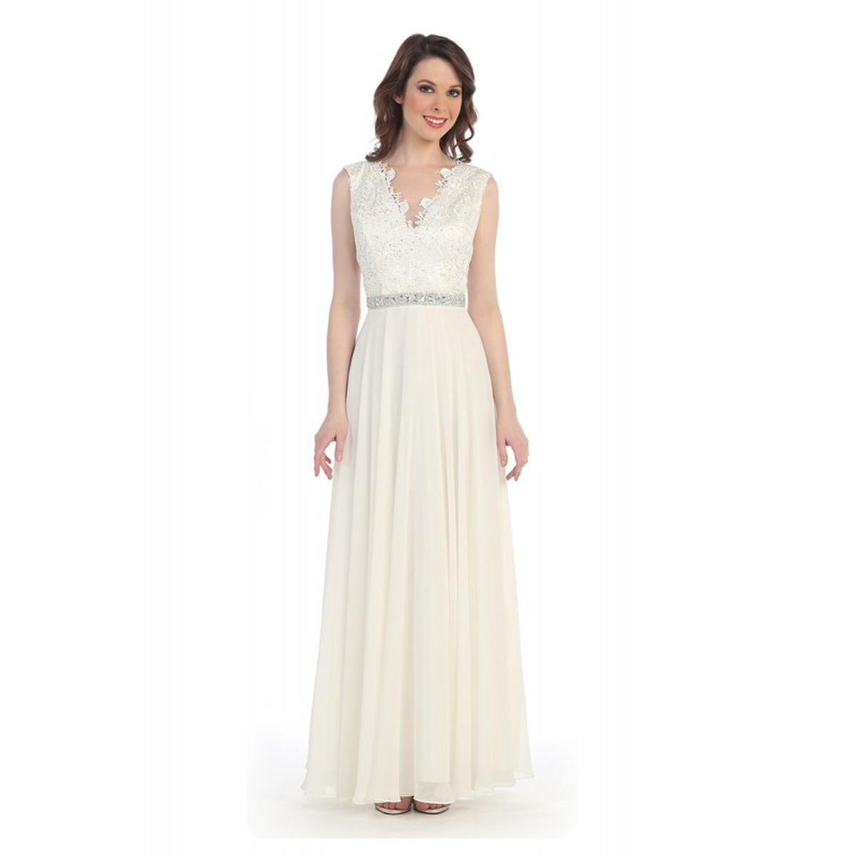 CINDY COLLECTION USA - Chiffon Beaded Waist V-Neck Gown