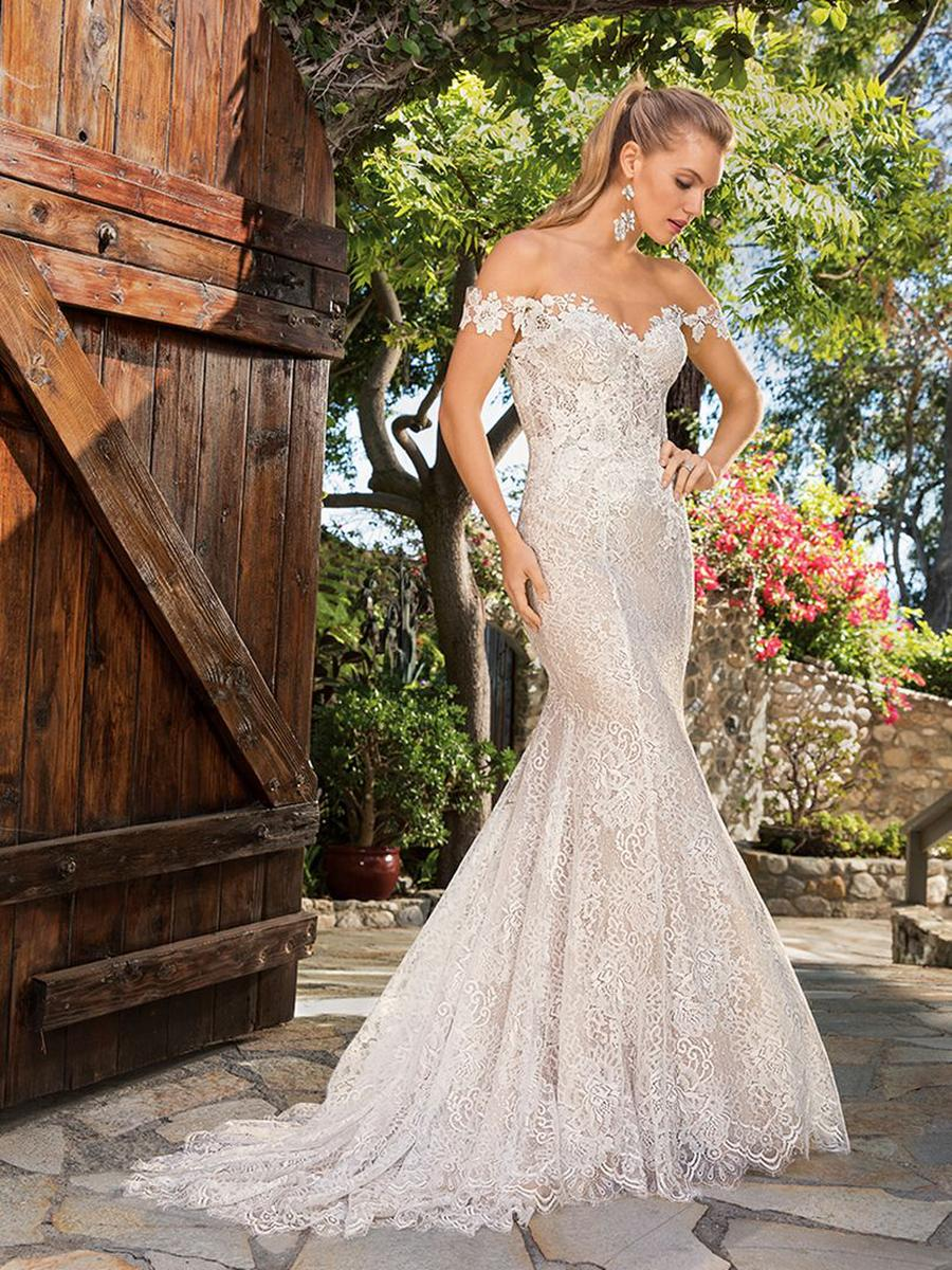 Casablanca - Off-Shoulder Lace Sheath Bridal Gown