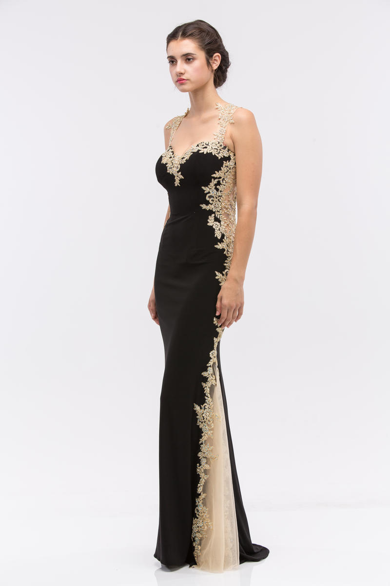 Fashion Eureka - Lace Border Jersey Sheath Gown