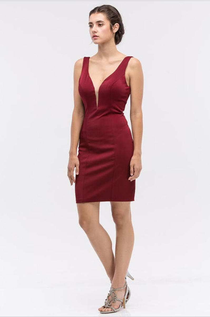 Fashion Eureka - Short Deep V-Neck Low Back Dress