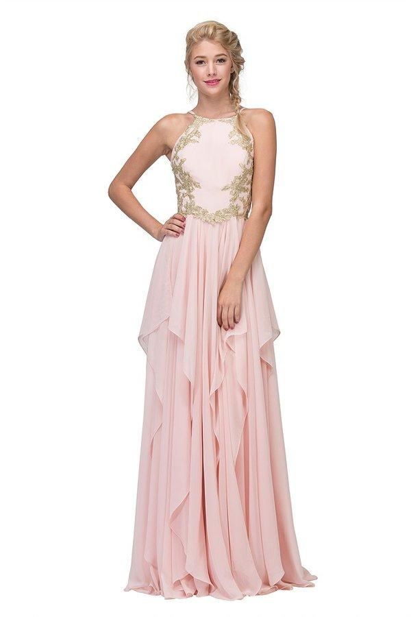 Fashion Eureka - Chiffon Flair Gown Embroidered Bodice