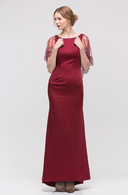 Fashion Eureka - Jersey Beaded Gown- Mock Shawl